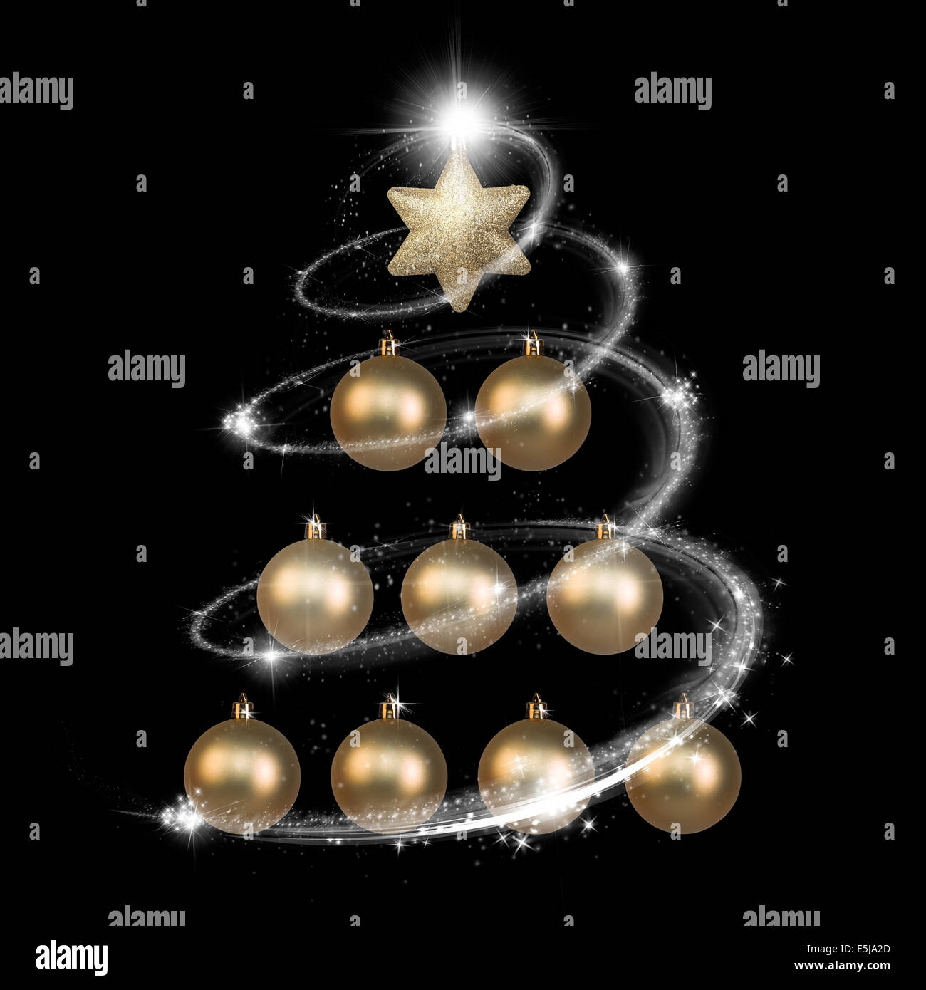 Elegant Christmas Tree Made With Gold Balls Over Black Background