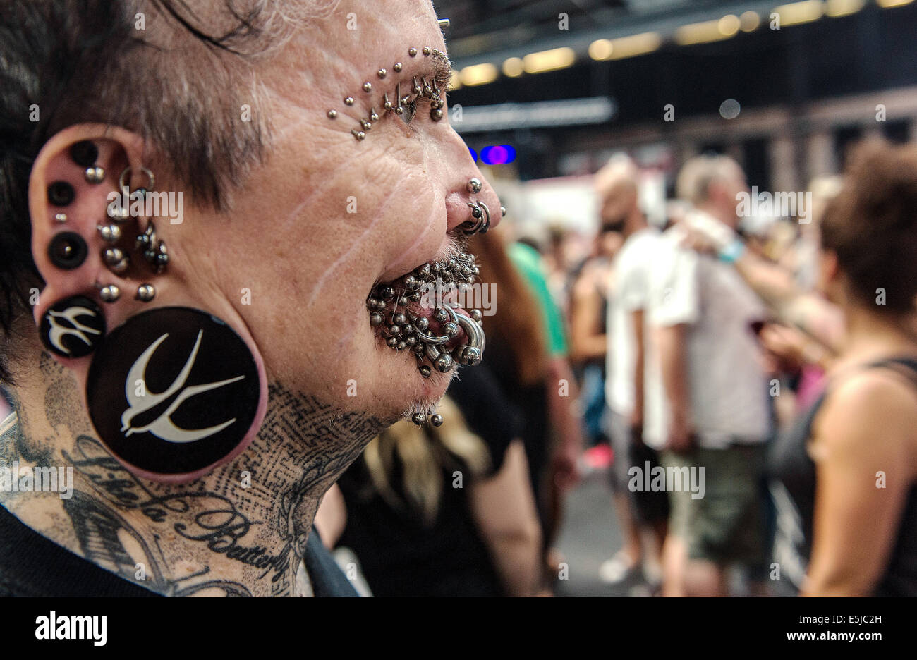 Berlin, Germany. 2nd Aug, 2014. Rolf Buchholz from Dortmund at the 24th Tattoo Convention at Arena in Berlin, Germany, - Stock Image