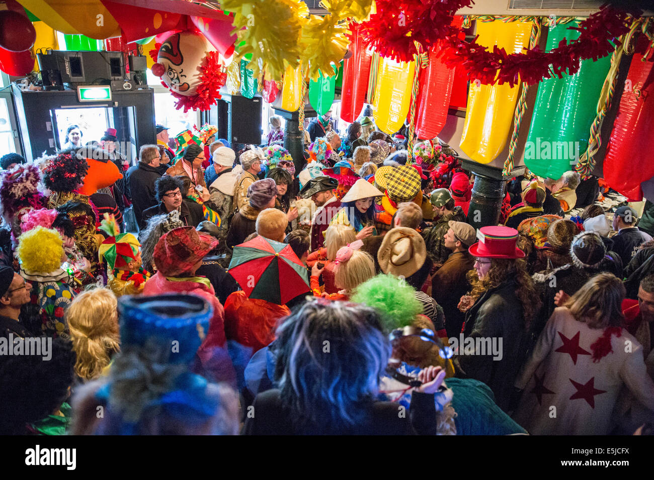 Netherlands, Maastricht, Carnival festival, Standup comedians performing in Mouton Blanc pub Stock Photo