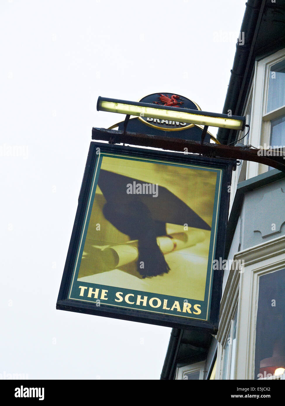 The Scholars pub sign in Aberystwyth Ceredigion Wales UK - Stock Image