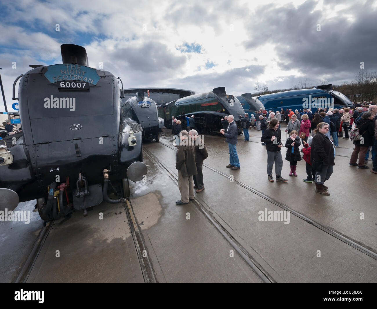 Class A4 sister engines gather for Great Goodbye at Shildon, County Durham - Stock Image