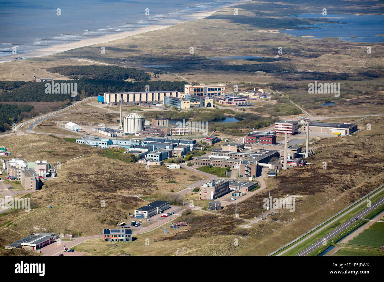 Netherlands, Petten, Nuclear research reactors. The nuclear facilities supply medical isotopes. Aerial - Stock Image