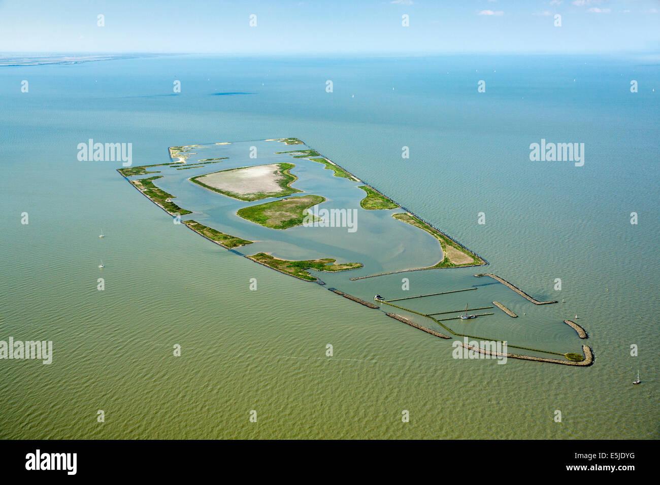 Netherlands, Andijk, Artificial island called De Kreupel, Dutch Forestry Commission. Aerial Stock Photo