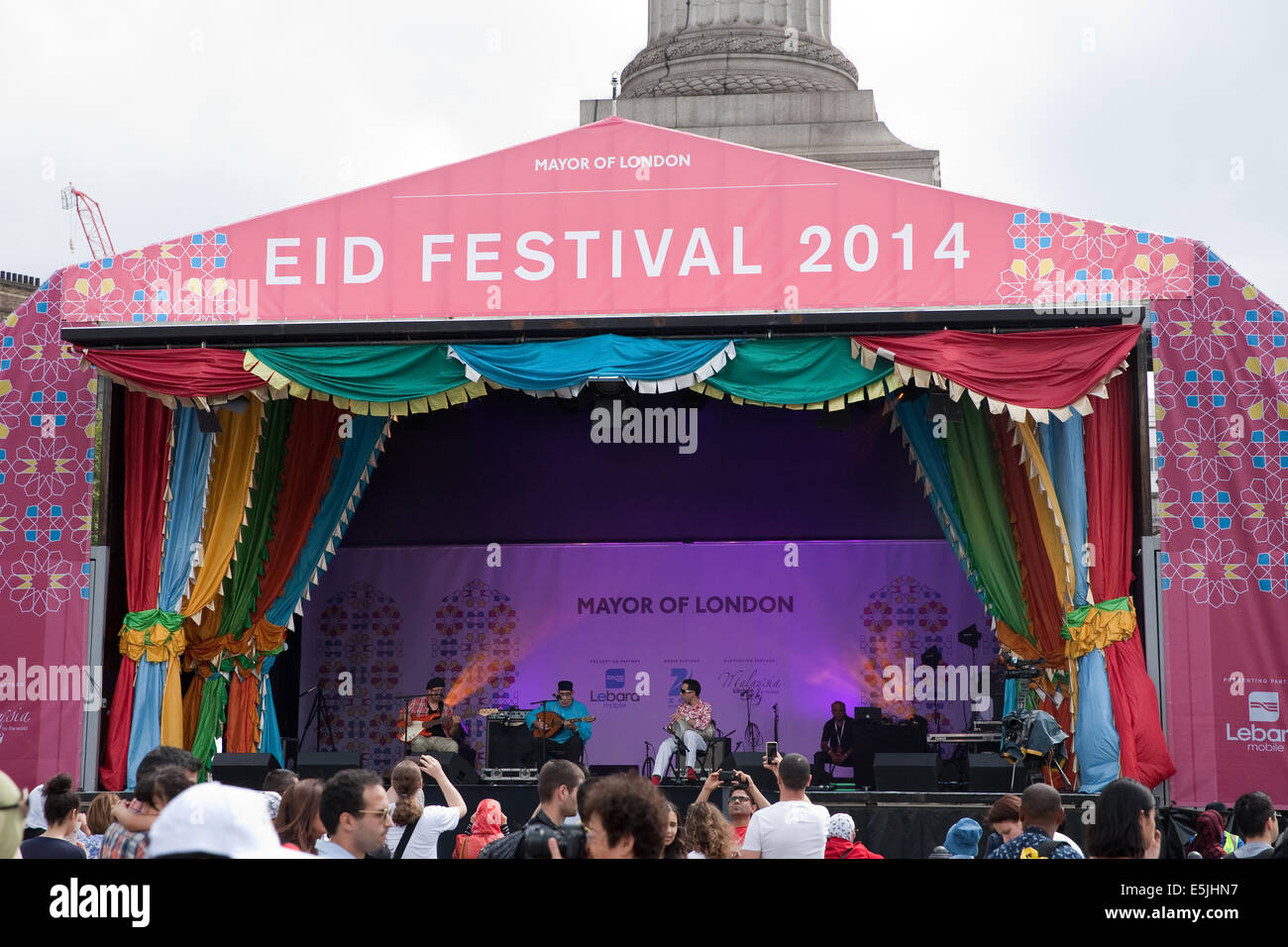 London, UK  2nd Aug, 2014  The stage at the free Eid Festival in