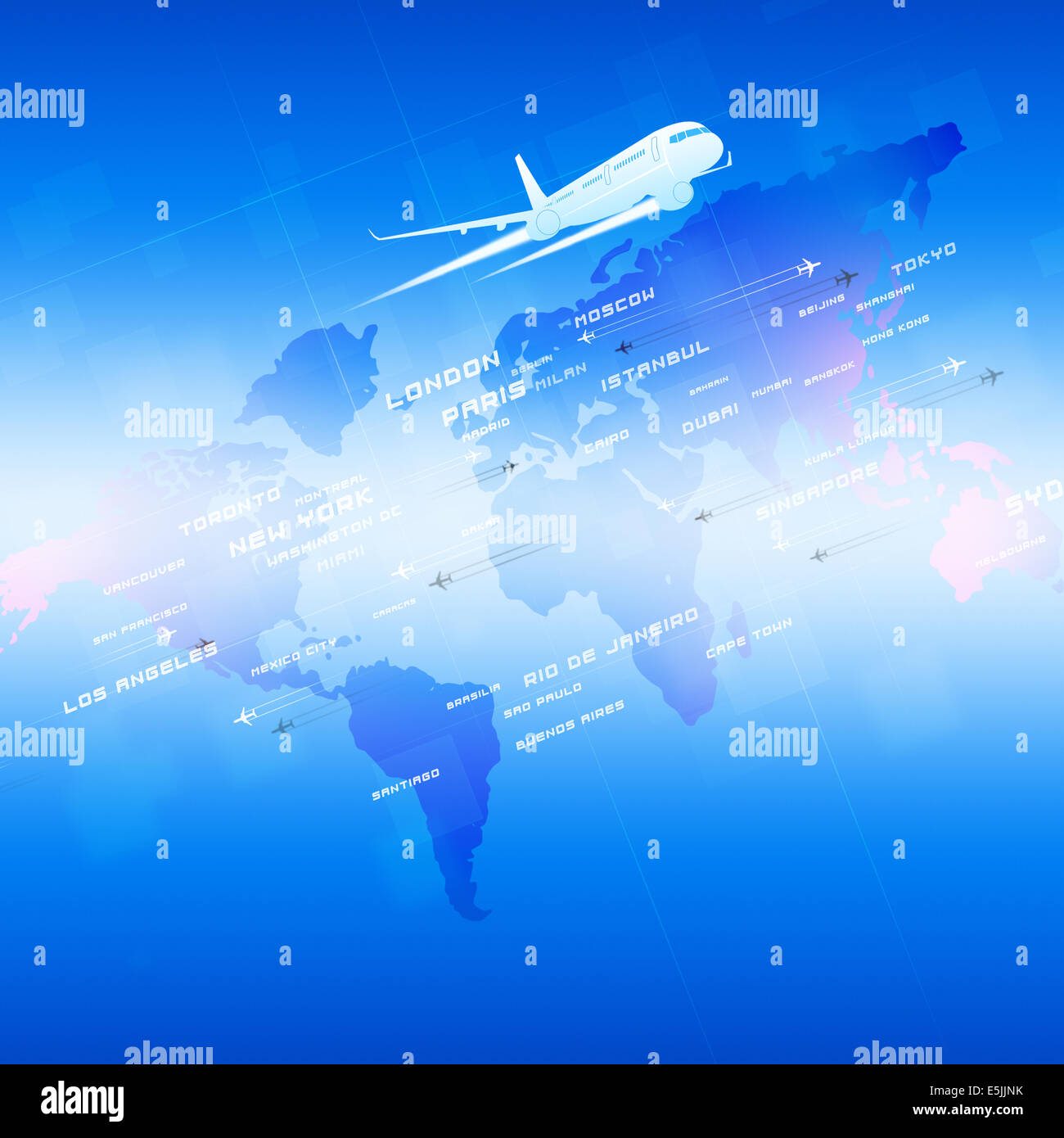 global aviation background with planes and city names on a map Stock Photo