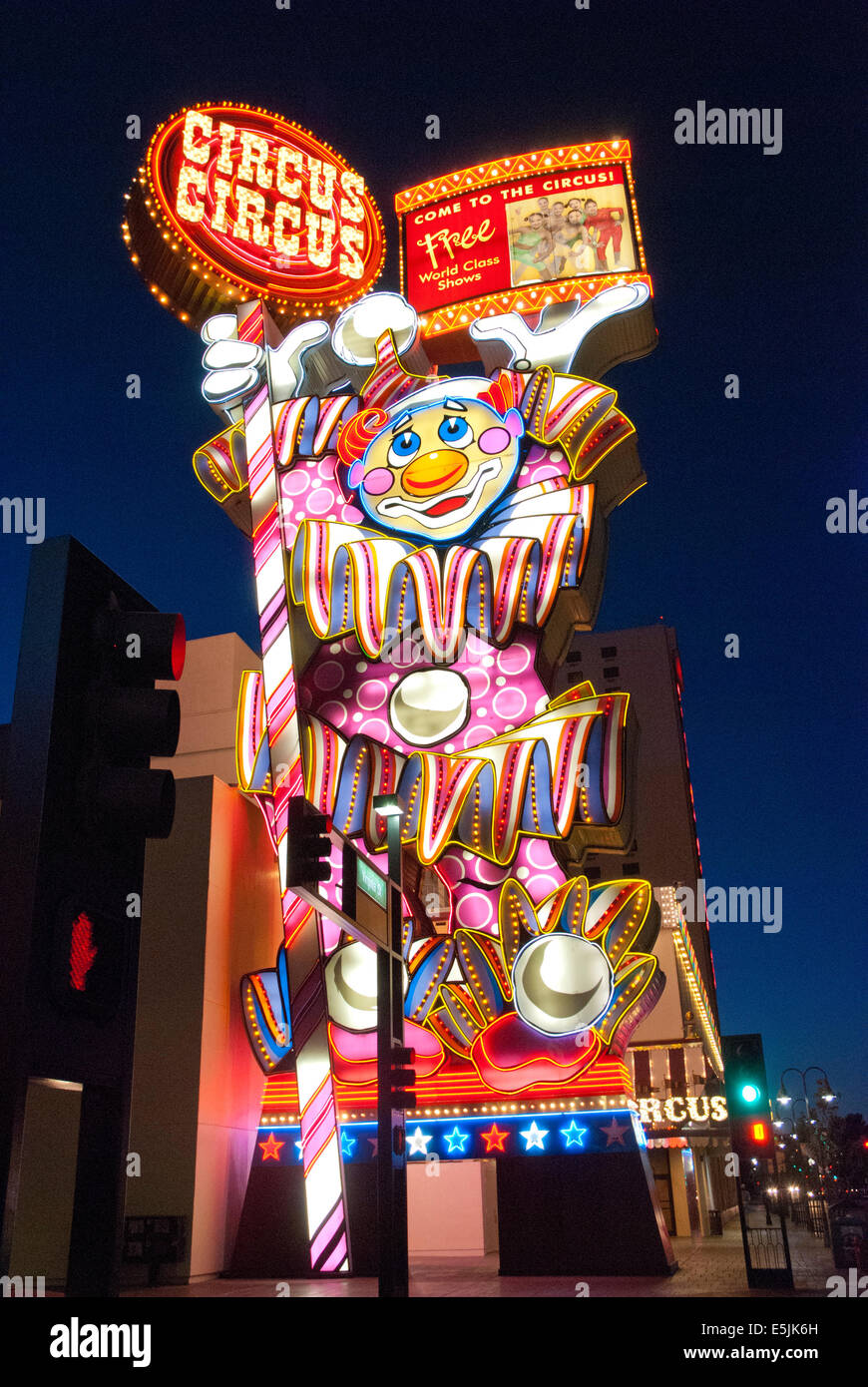 Circus Circus sign at night, Reno, Nevada USA - Stock Image