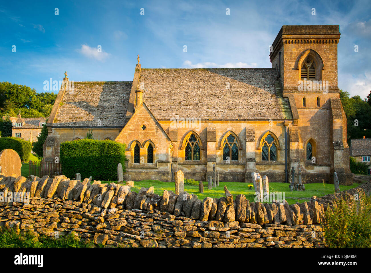 Evening sunlight on St Barnabas Church, Snowshill, the Cotswolds, Gloucestershire, England Stock Photo