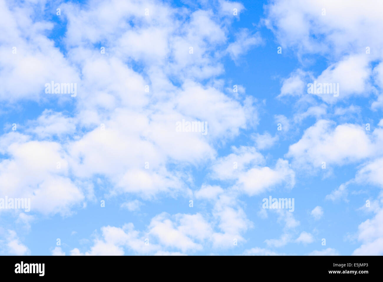 Blue sky and lots small clouds, may be used as background - Stock Image