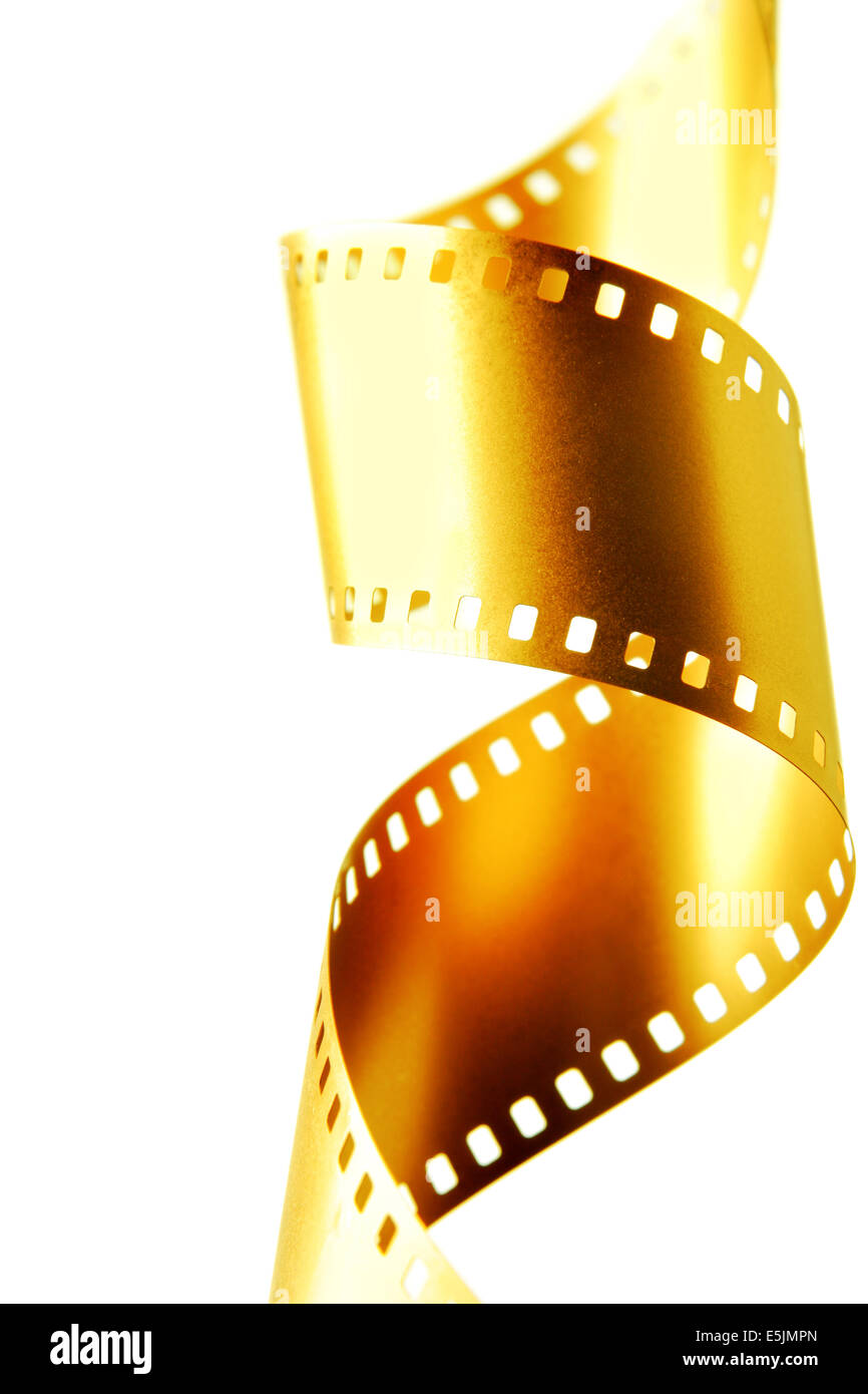 Gold 35 mm film isolated over white background - Stock Image