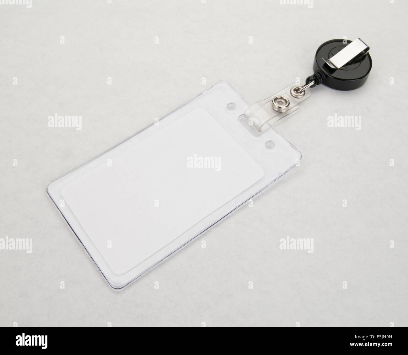 blank id badge and retractable badge holder badge in the foreground