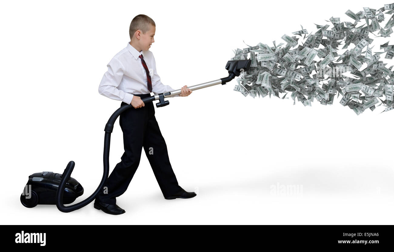 businessman collects money Vacuum - Stock Image