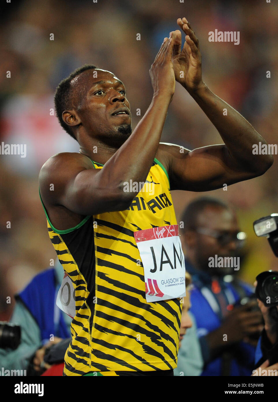 USAIN BOLT MEN'S 4X100 RELAY HAMPDEN PARK GLASGOW SCOTLAND 02 August 2014 - Stock Image
