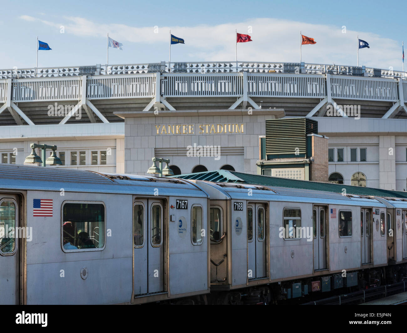 4 subway platform, train and tracks at yankee stadium, the