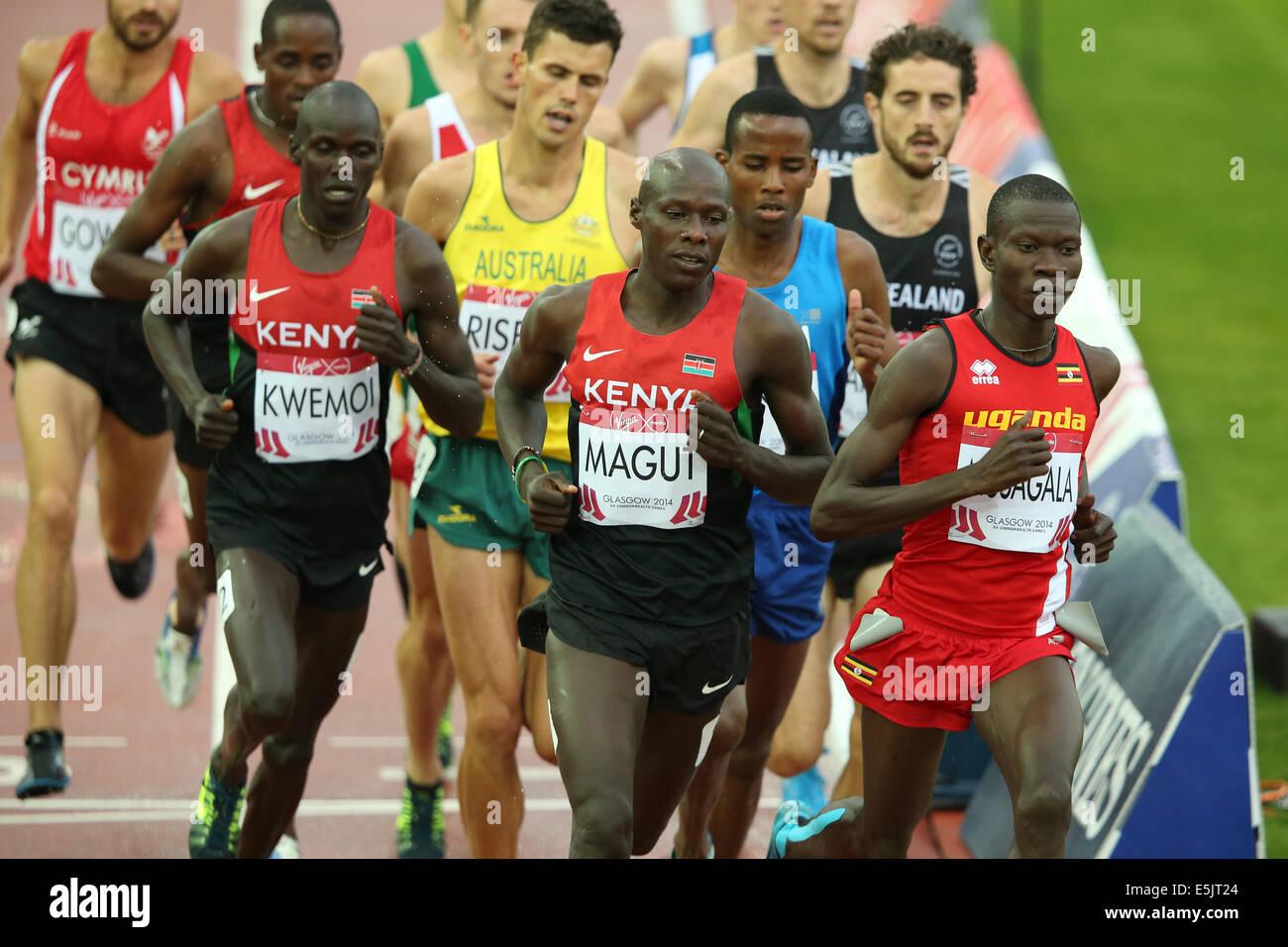 Hampden Park Glasgow 2 August 2014. Commonwealth Games day 10 Athletics.  Men's 1500m final. Winner James Kiplagat - Stock Image
