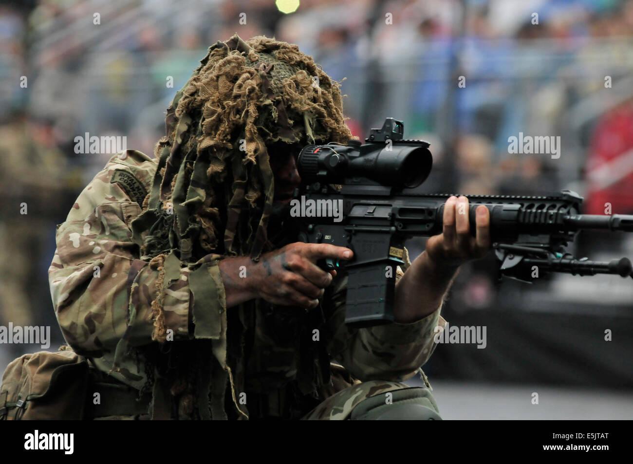 Edinburgh, Scotland, UK. 2nd August 2014. The Royal Edinburgh Military Tattoo takes place on the esplanade of the Stock Photo