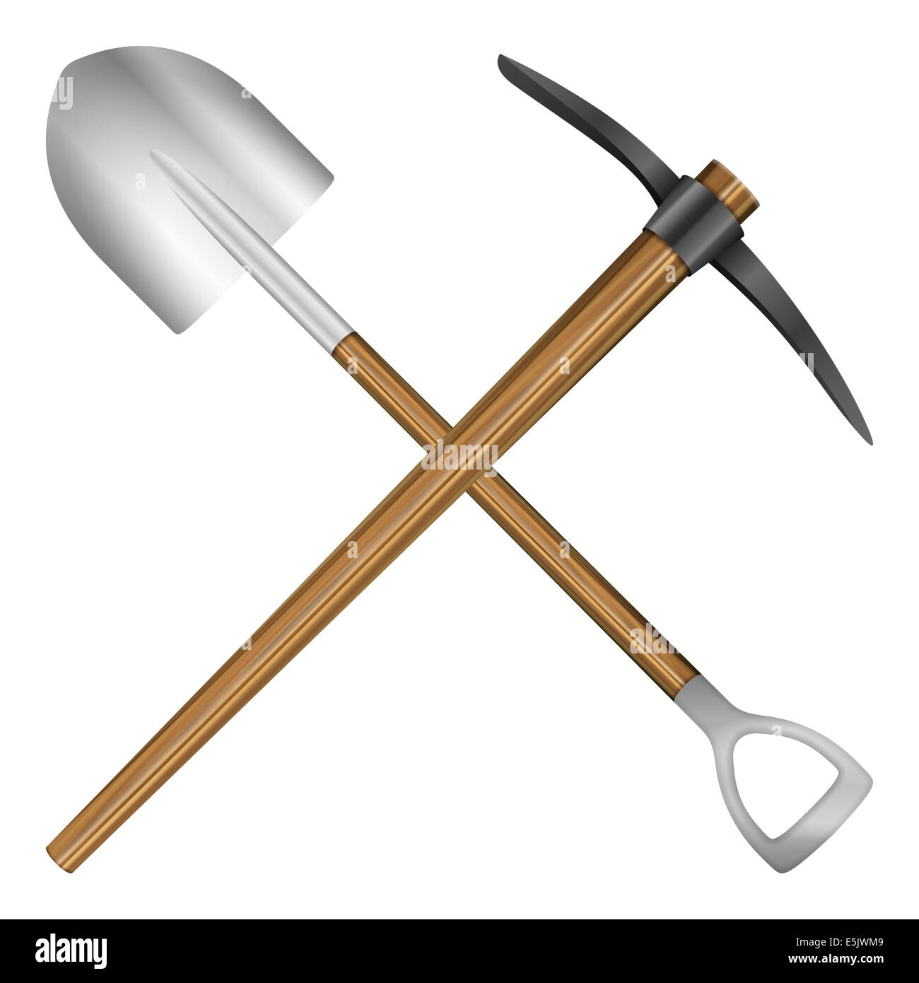 Shovel And Mattock On A White Background. Vector Illustration.   Stock Image