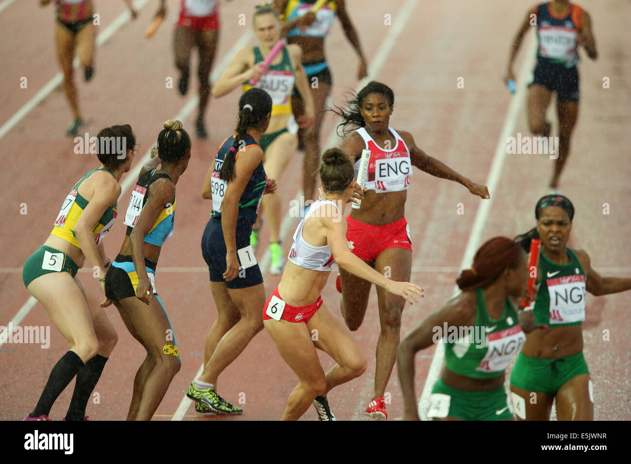 Hampden Park Glasgow 2 August 2014. Commonwealth Games day 10 Athletics.   Women's 4x400m relay final. 1st  - Stock Image