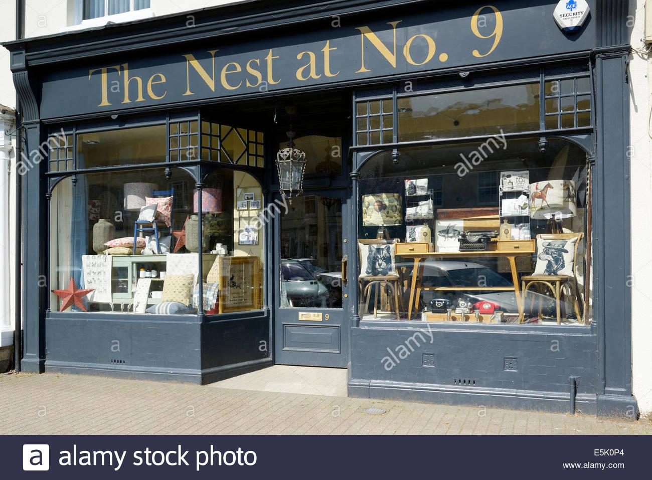 The Nest at No. 9, furniture shop, High Street, Olney, Buckinghamshire, England UK - Stock Image