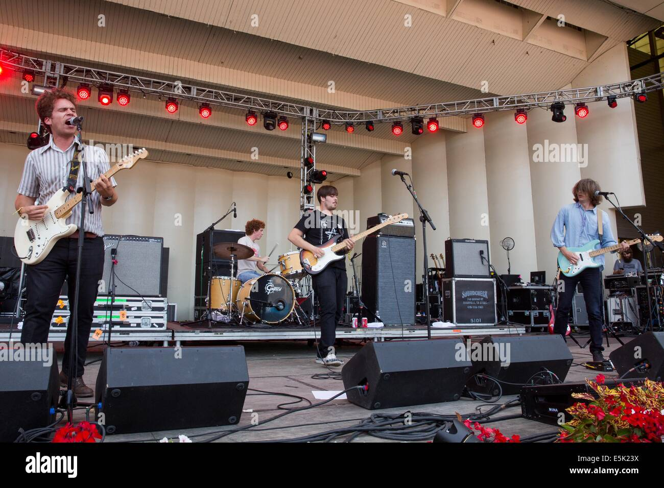 Chicago, Illinois, USA. 2nd Aug, 2014. Parquet Courts perform live at the 2014 Lollapalooza Music Festival in Chicago, - Stock Image