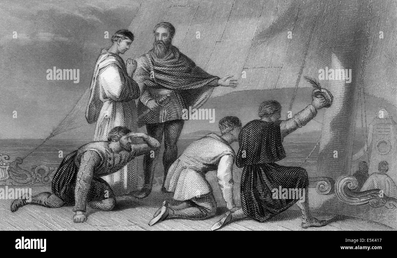The Discovery of America in 1492 by the Genovese navigator Christopher Columbus, 1451-1506, - Stock Image