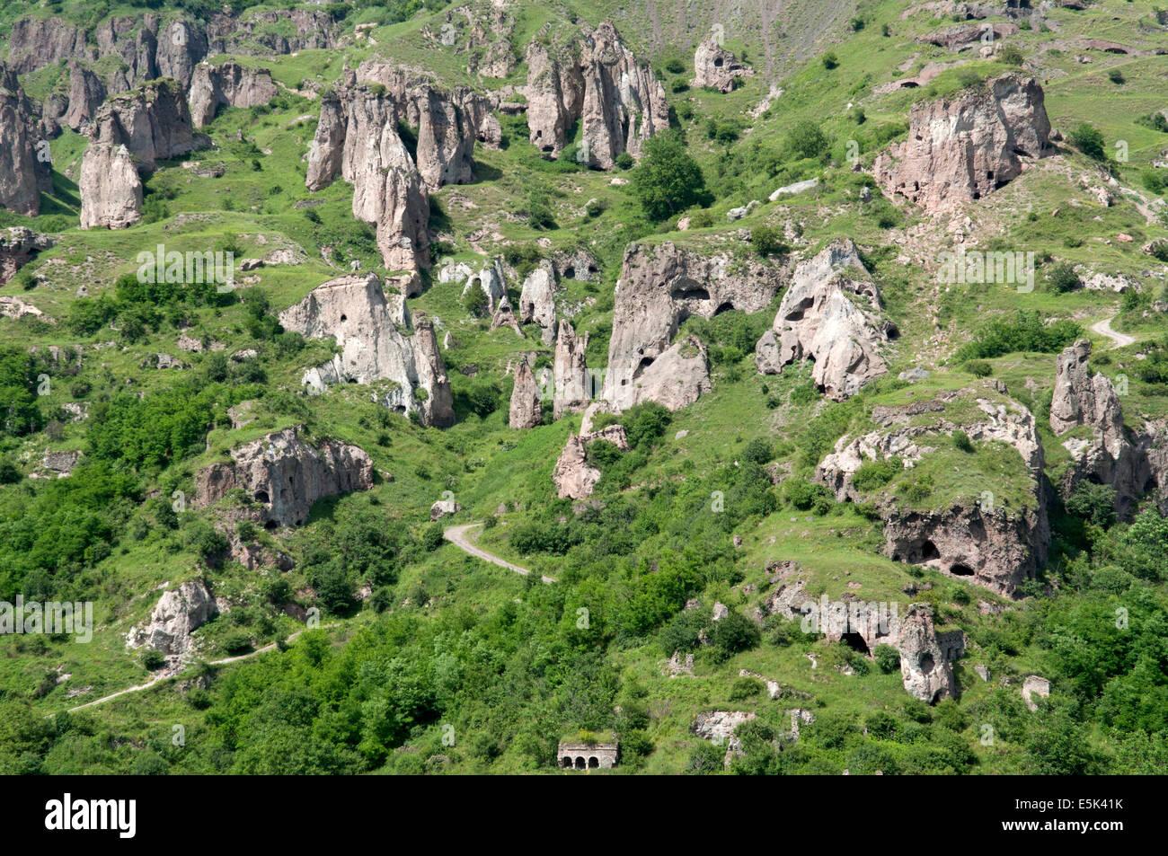 Khndzoresk cave settlement, Armenia - Stock Image