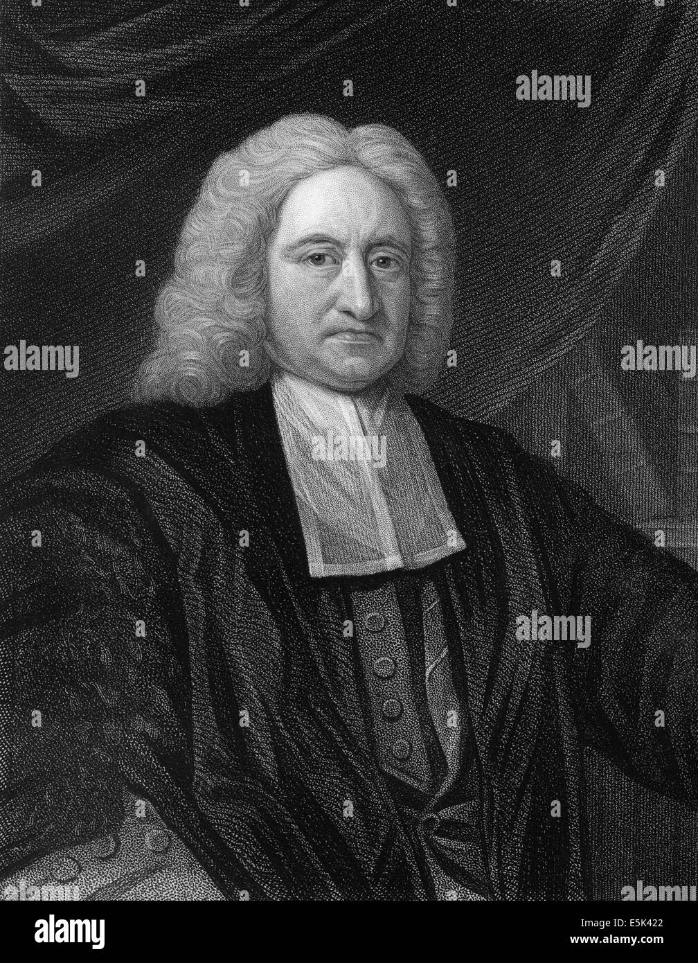 Edmond Halley, 1656 - 1742, an English astronomer, geophysicist, mathematician, meteorologist, - Stock Image