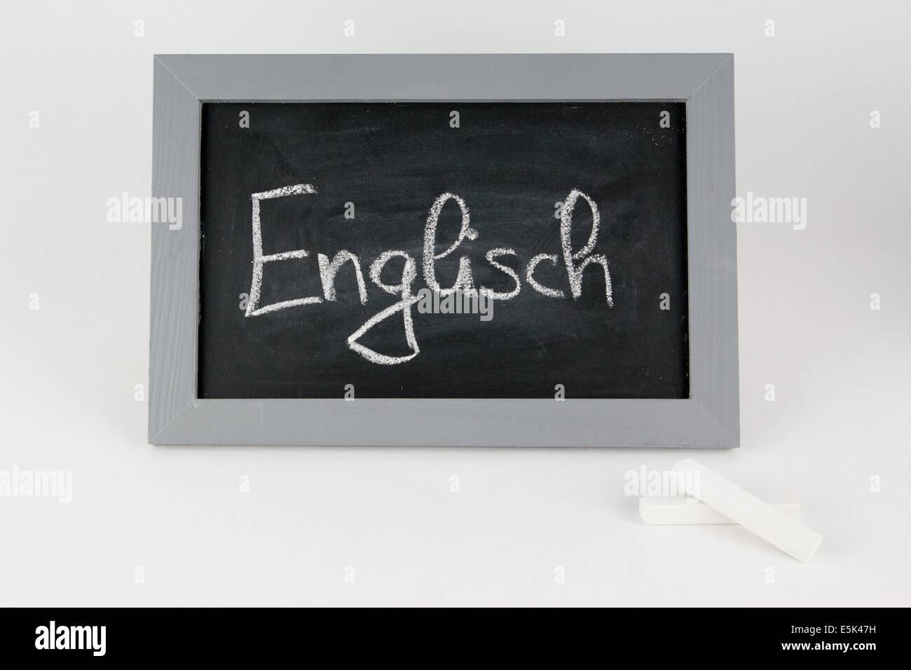Tafel Englisch Vokabeln abc Alphabet Kreide Schule Schultafel Schulkreide Schulkinder schreiben Grammatik Rechtschreibung - Stock Image