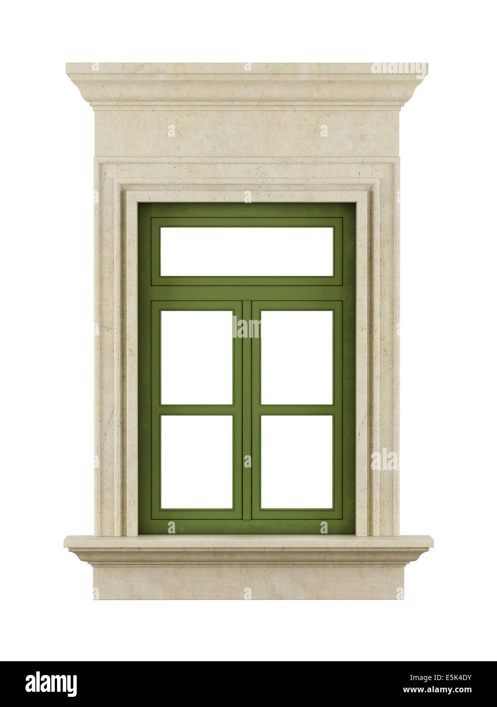 Classic windows with stone frame on white - rendering Stock Photo ...
