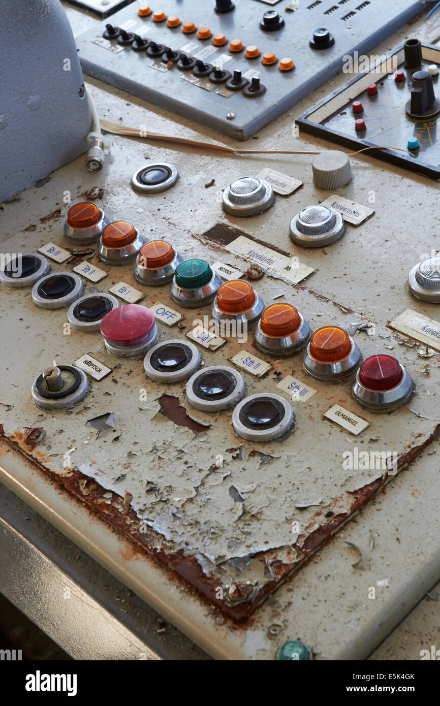 abandoned cruise ship control panel buttons - Stock Image