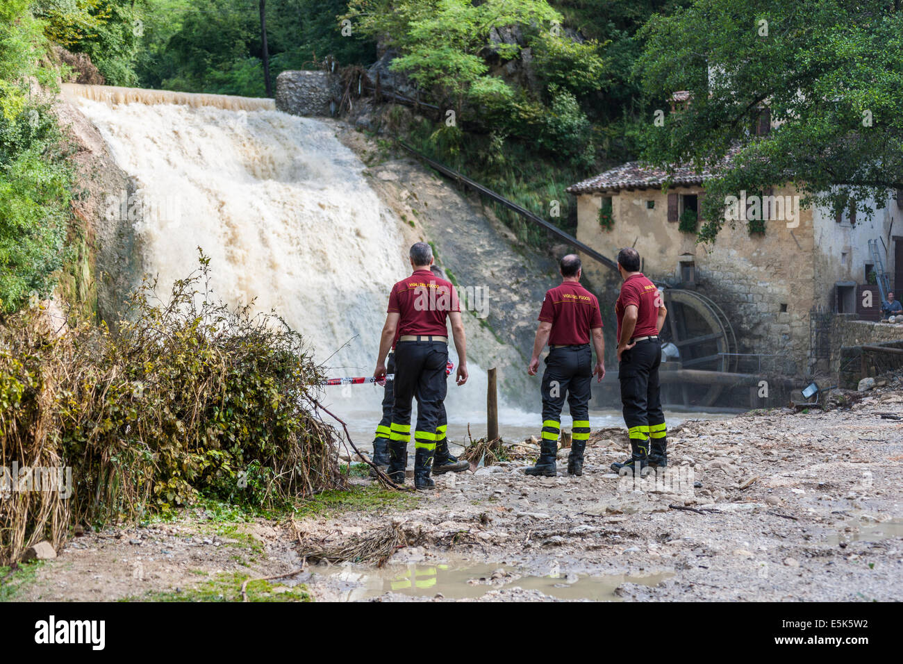 Refrontolo, Treviso, Italy. 3rd Aug, 2014. Cloudburst at Refrontolo 4 people deaths and several missing. Yesterday - Stock Image