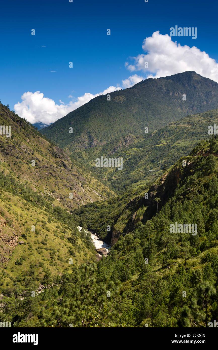 Eastern Bhutan, Kuri Chhu River passing through Lhuentse Valley Stock Photo