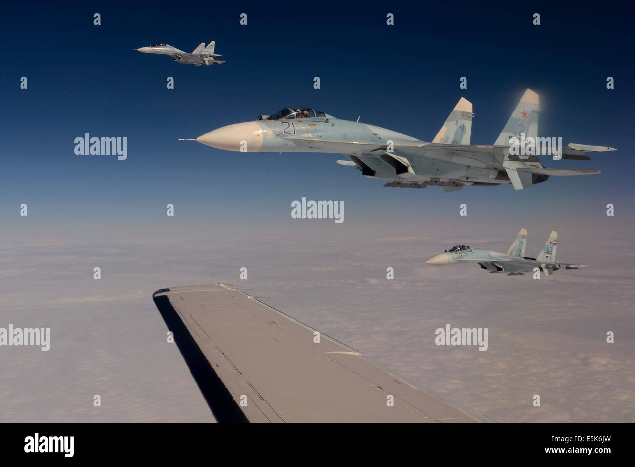 Russian Federation Air Force Su-27 Sukhoi fighter aircraft intercept a simulated hijacked aircraft entering Russian - Stock Image