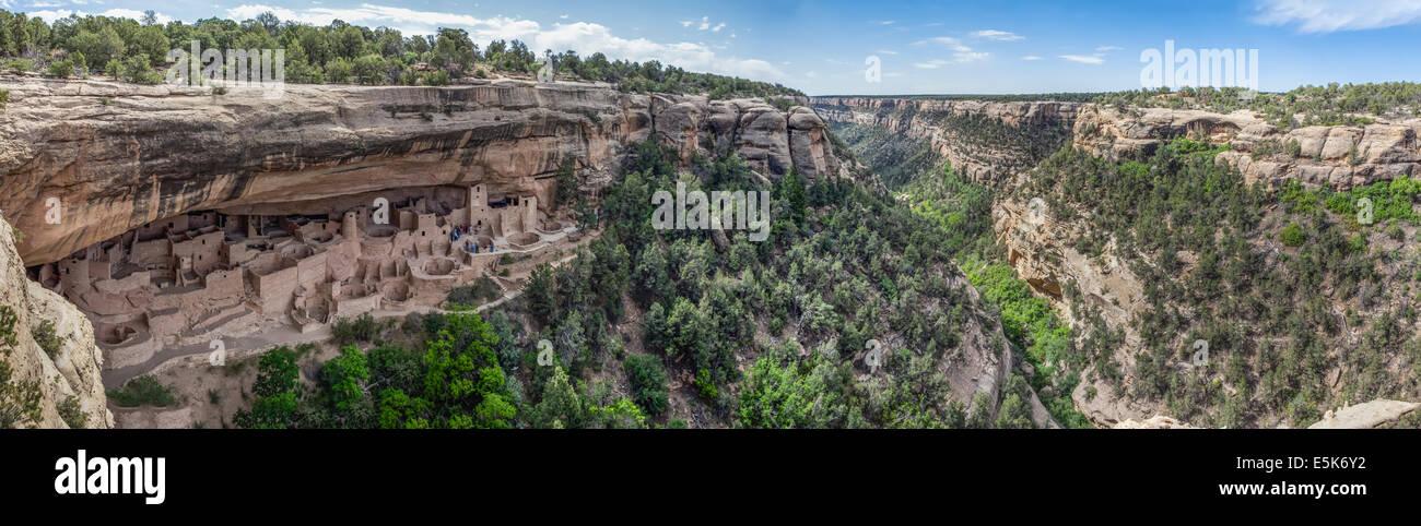 Panorama of Cliff Palace, Mesa Verde, Montezuma County, Colorado - Stock Image