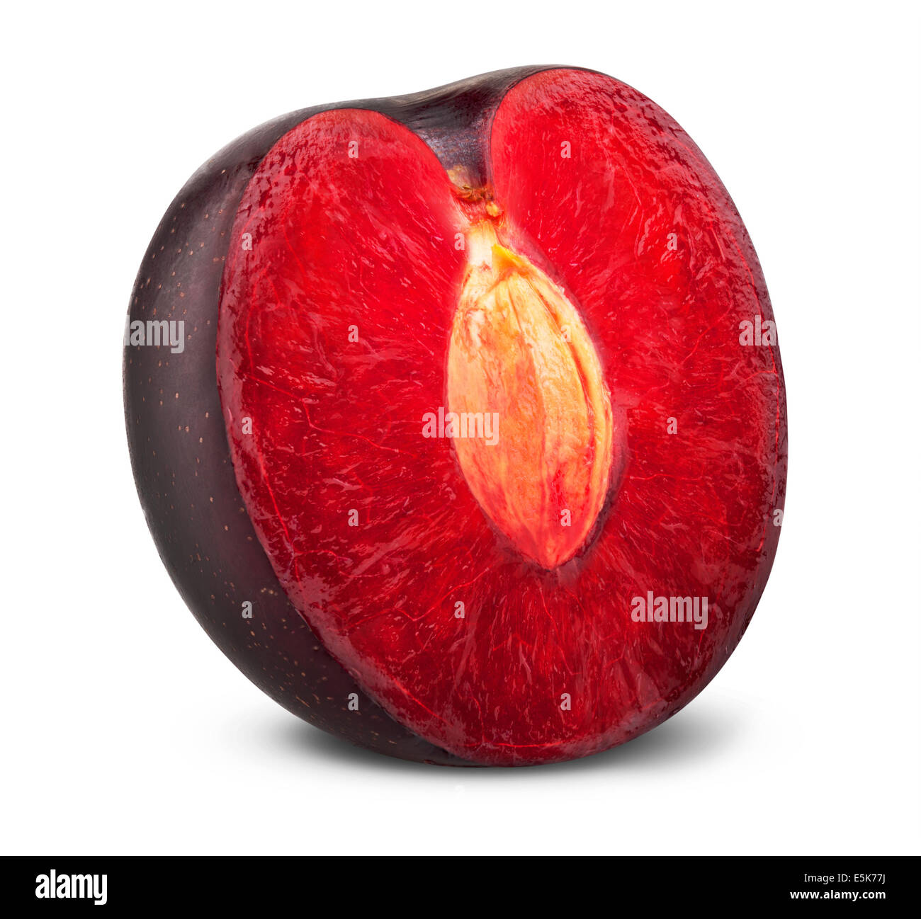 plum isolated on white background. Clipping Path - Stock Image