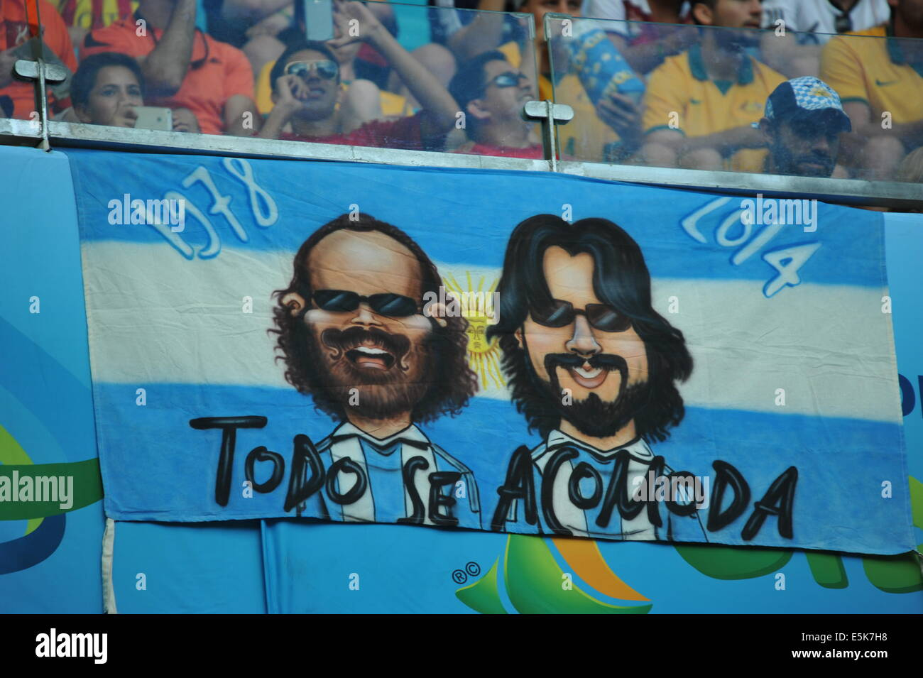 Argentinischer Fanblock, WM 2014, Salvador da Bahia, Brasilien. Stock Photo