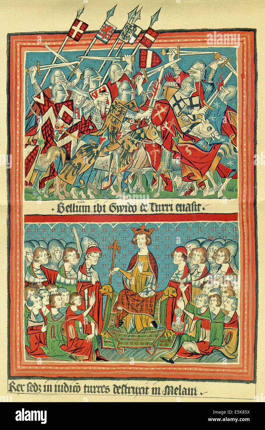 14th century Codex Balduineus : Top: Henry VII winning battle (top)  in 1311 and crowned king and (bottom) sitting - Stock Image