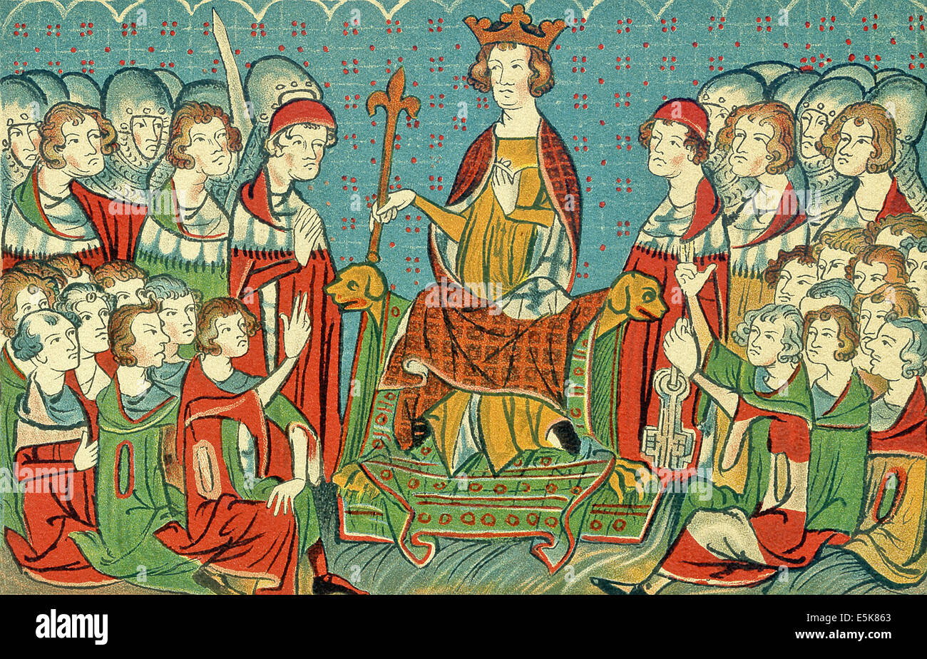 A page from Codex Balduineus, a 14th-century legal text Henry VII (c. 1275-1313) sitting in judgment in his court. - Stock Image