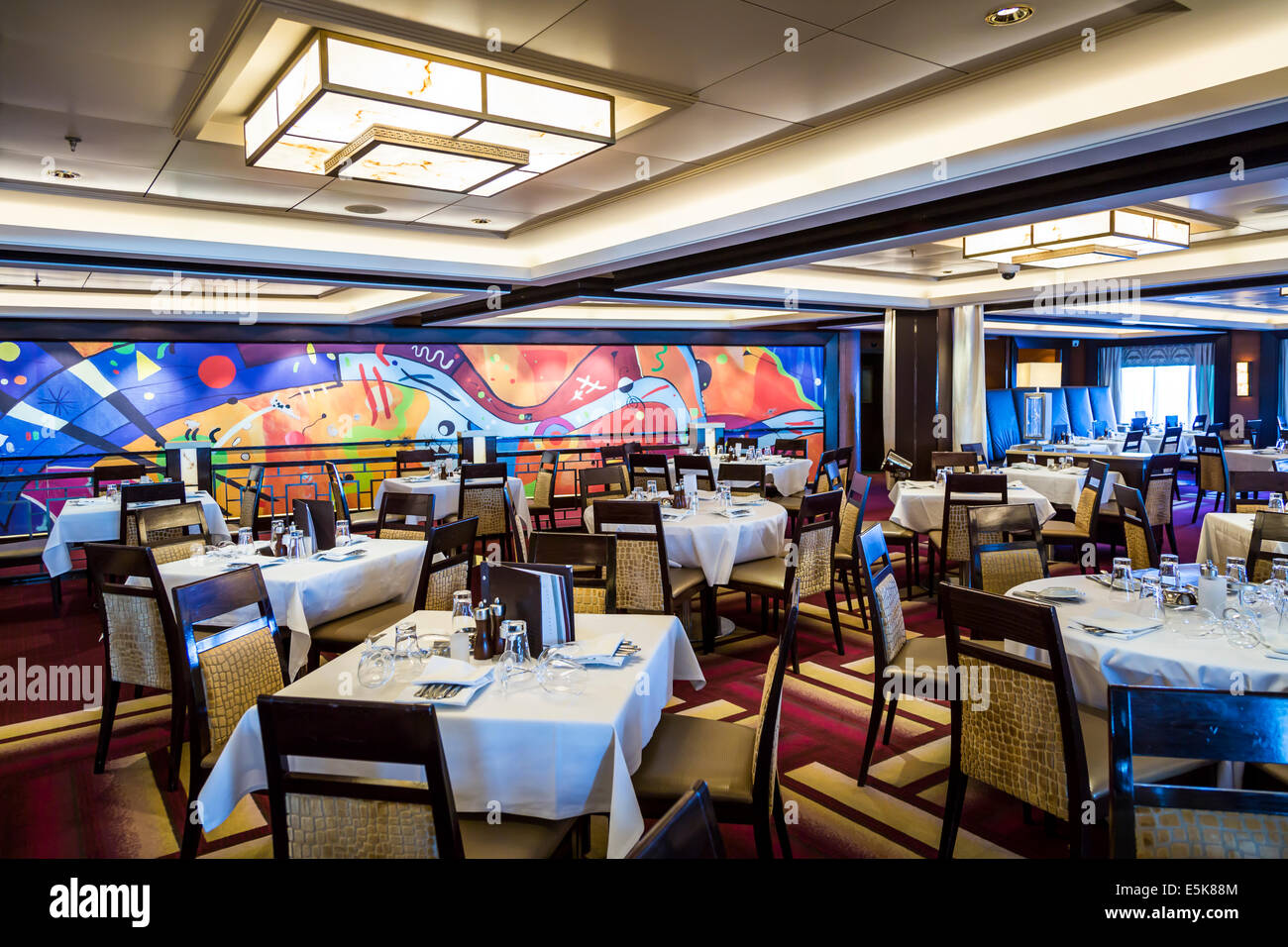 The Manhattan Restaurant on the Norwegian Epic cruise ship. - Stock Image