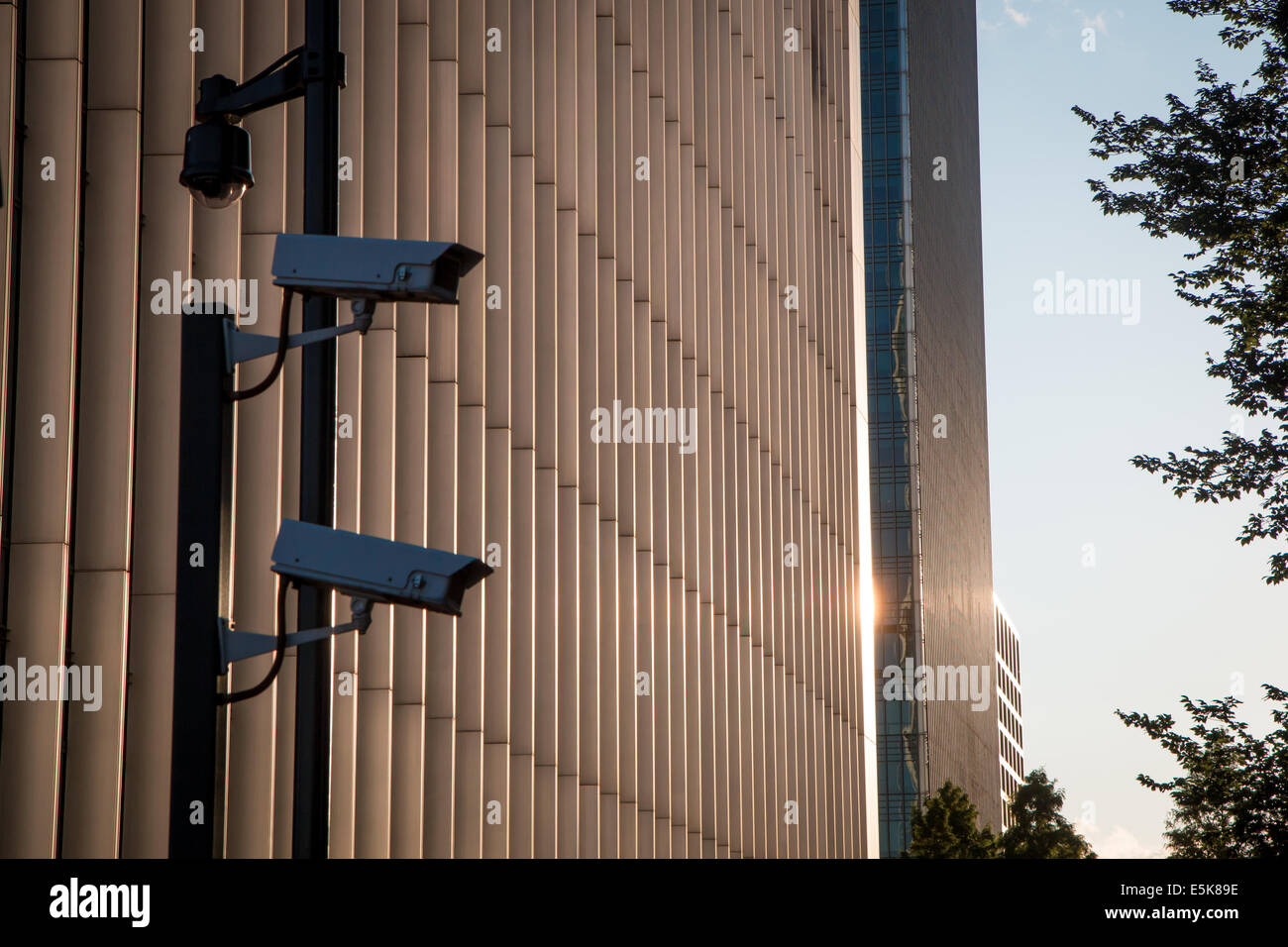 CCTV at sunset - Stock Image