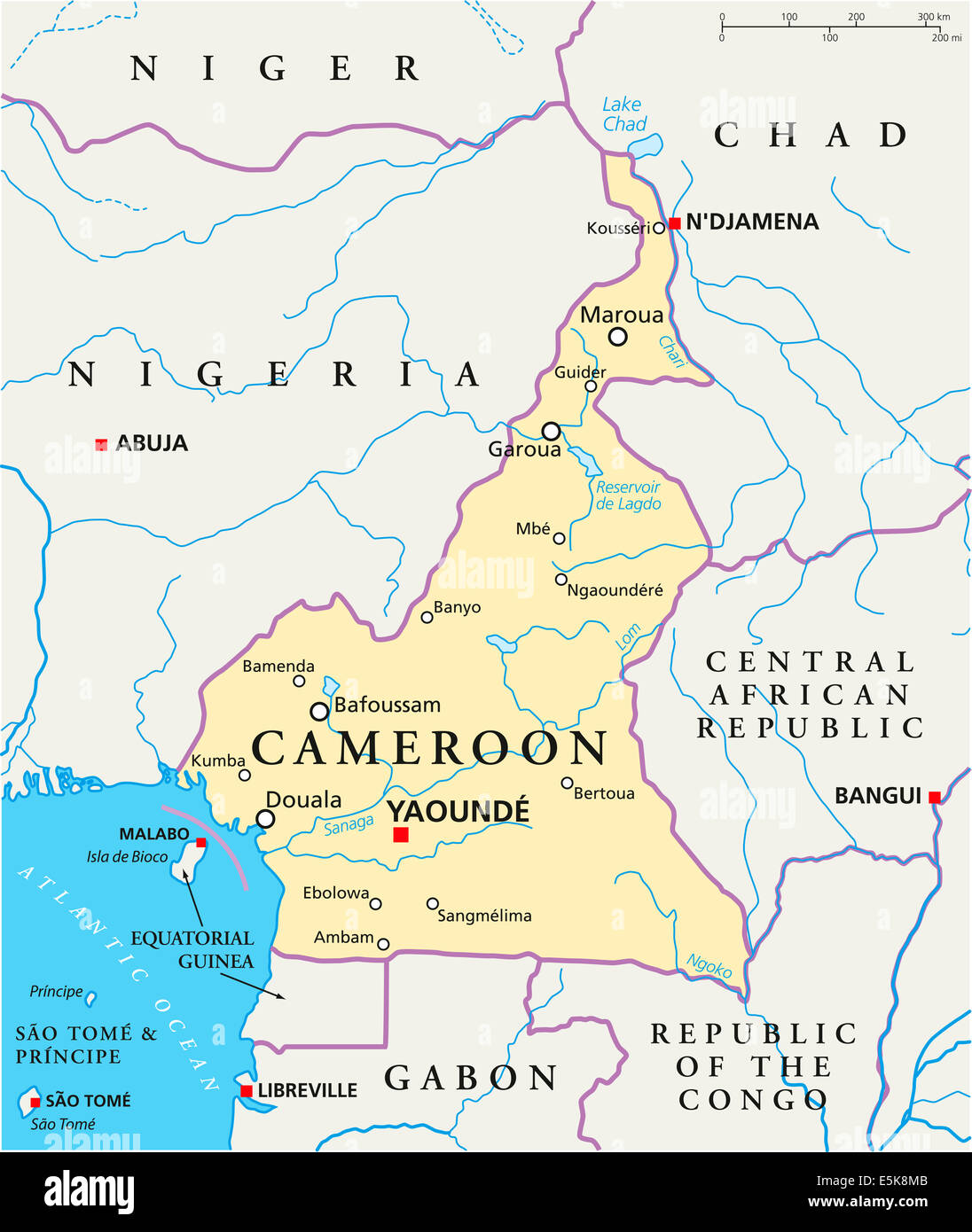 Cameroon Political Map With Capital Yaounde National Borders Most
