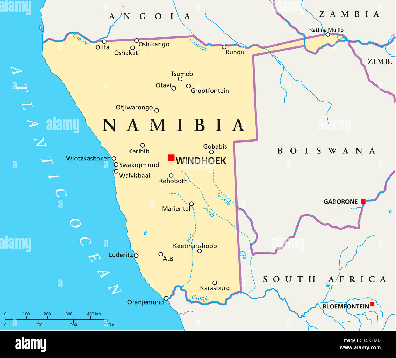Namibia Political Map with capital Windhoek national borders and