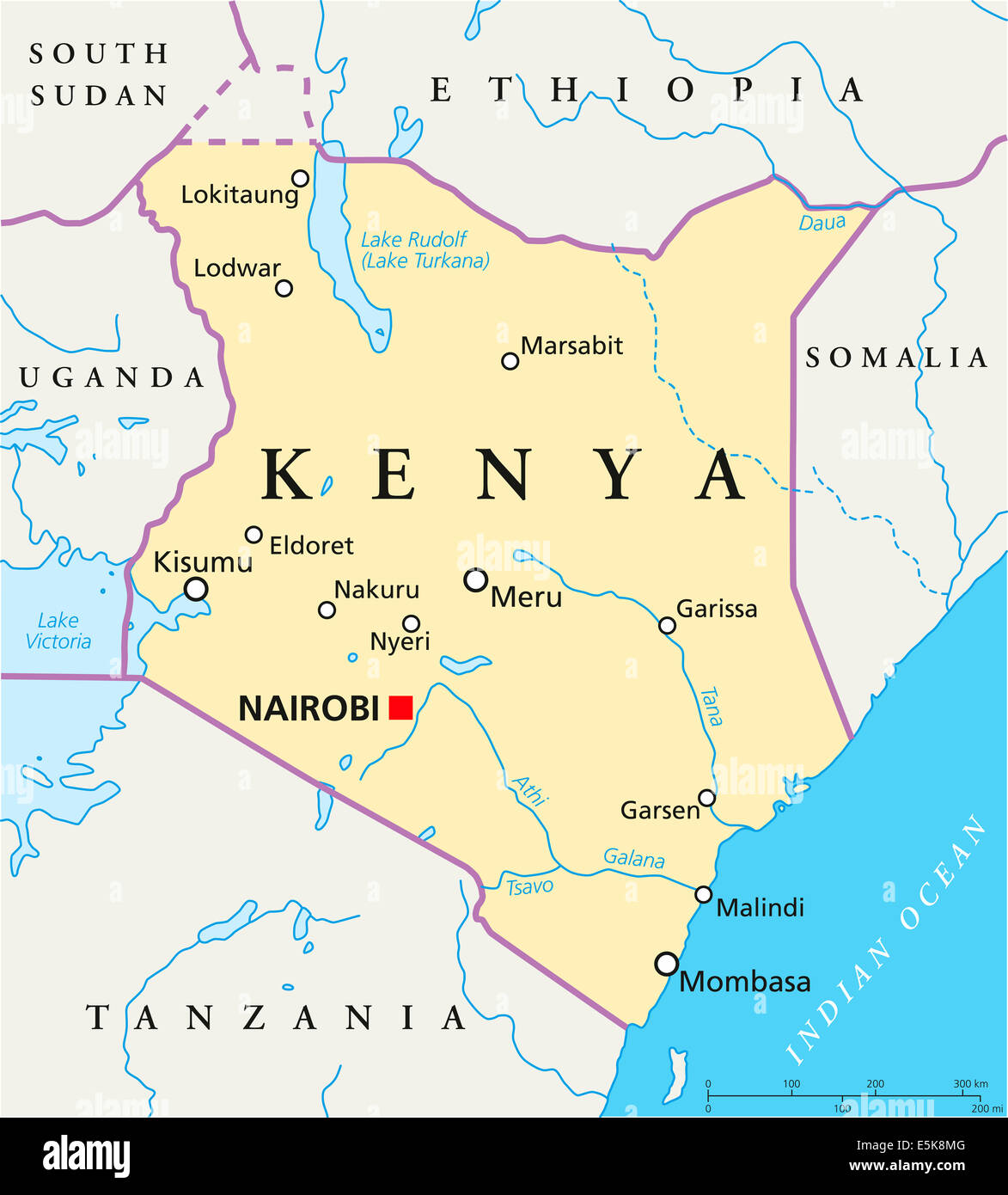 Kenya Political Map With Capital Nairobi, National Borders, Most Important  Cities, Rivers And