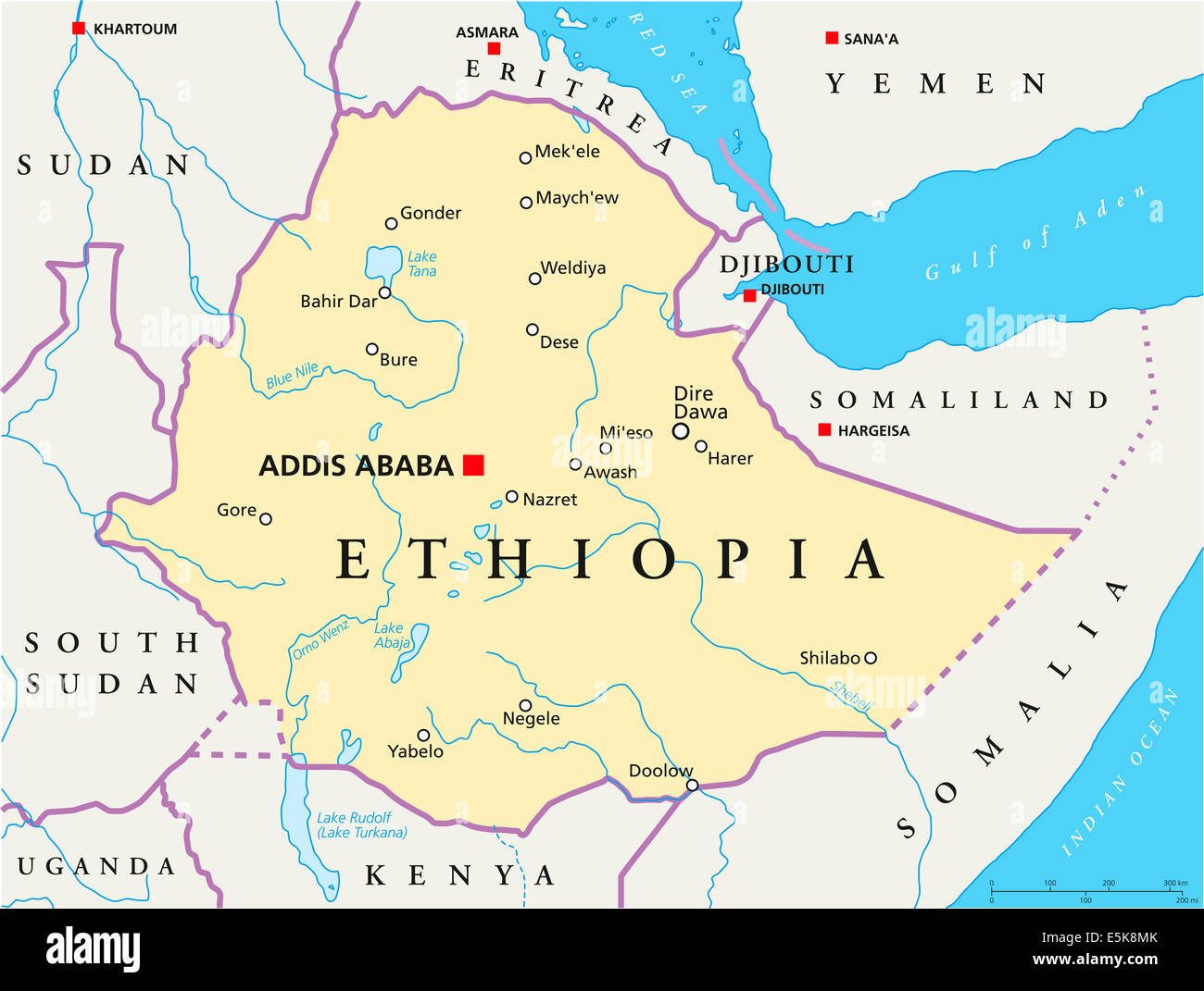 Ethiopia political map with capital addis ababa national borders ethiopia political map with capital addis ababa national borders stock photo 72338691 alamy gumiabroncs Gallery