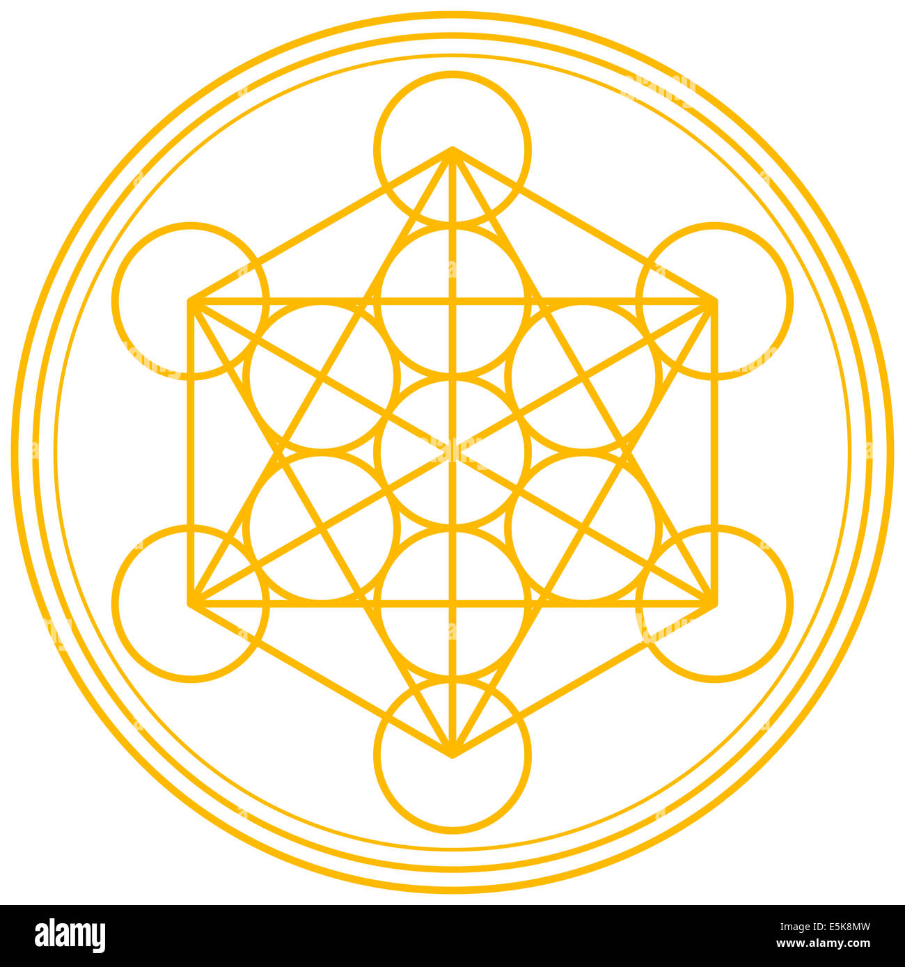 Metatron Cube Gold - Metatrons Cube and Merkaba derived from the Flower of Life, an ancient symbol. Illustration - Stock Image
