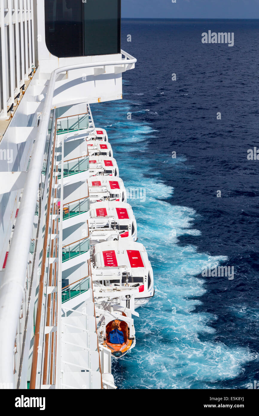 Life boats on the Norwegian Epic cruise ship. - Stock Image