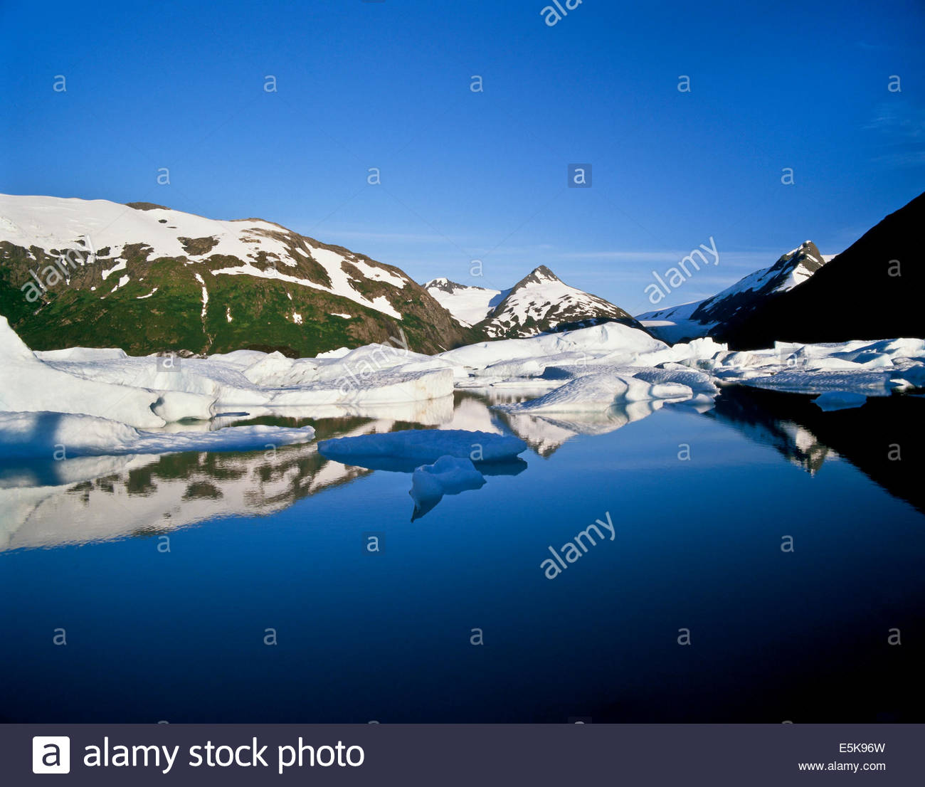 Icebergs from the Portage Glacier in Chugach National Forest in Alaska USA - Stock Image