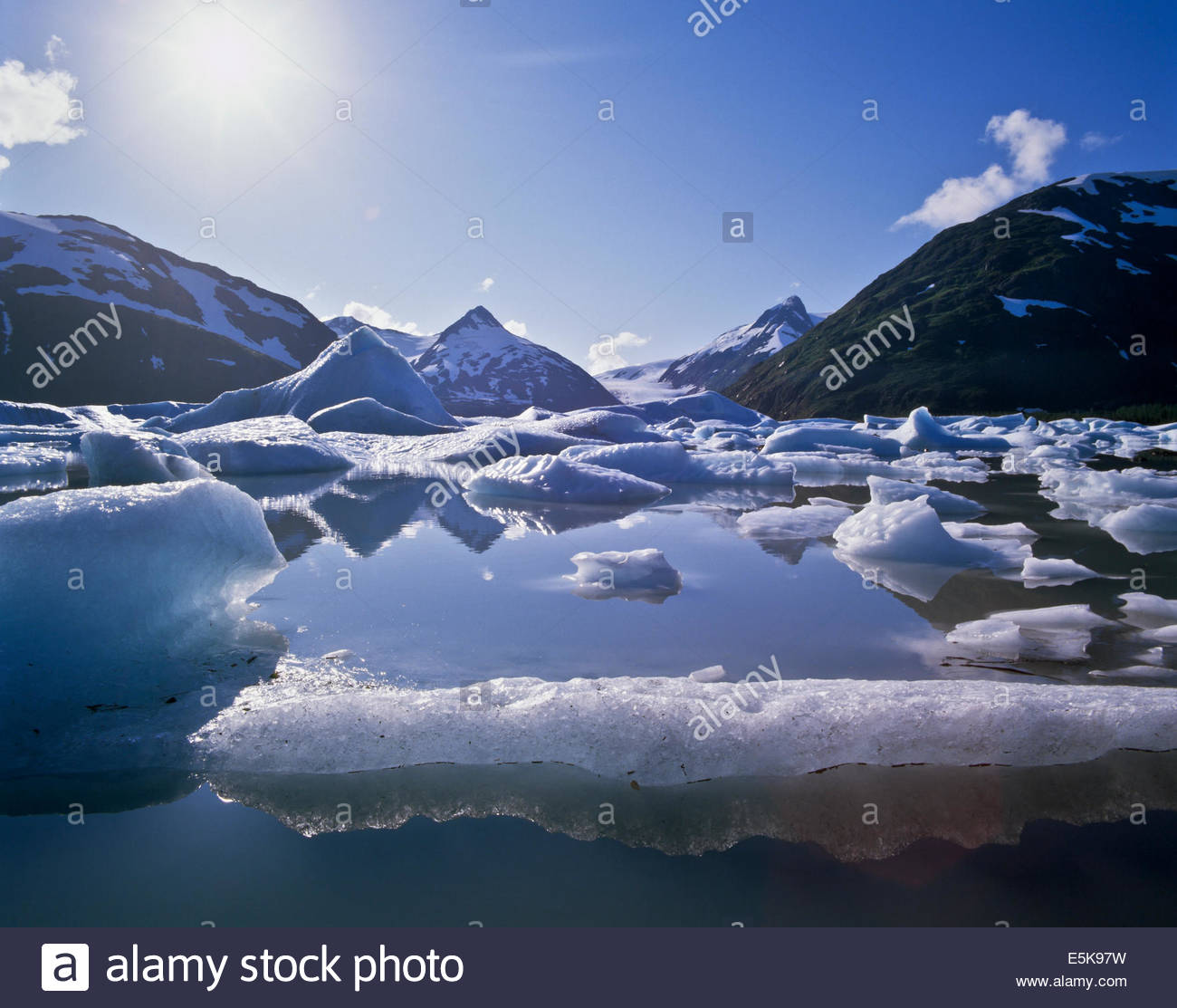 Icebergs from the Portage Glacier in Chugach National Forest in Alaska USA Stock Photo