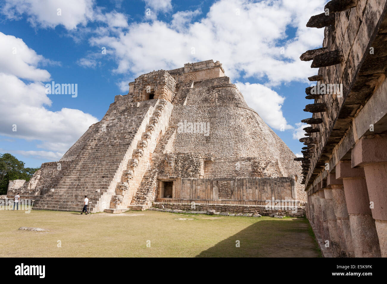 Stairs on the back side of the Pyramid of the Magician. Steep stairs lead up to the ceremonial temple chambers high Stock Photo