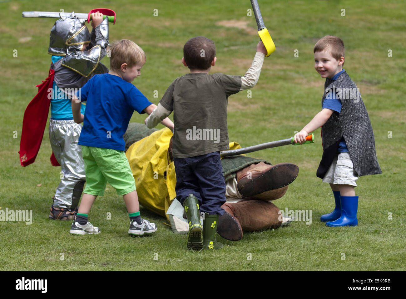 Beeston, Cheshire, UK 3rd August, 2014.  A Medieval Knights Tournament held at Beeston Castle in Cheshire, England. Stock Photo
