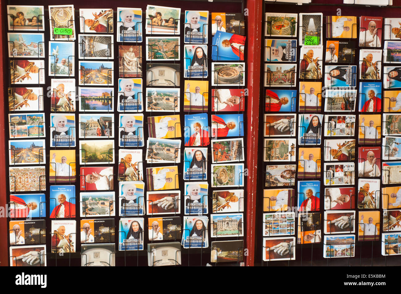 Rome Italy - Religious Postcards on sale - Stock Image